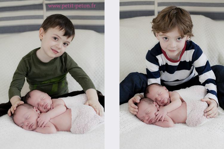 Séance photos nouveau né avec des jumelles à Paris