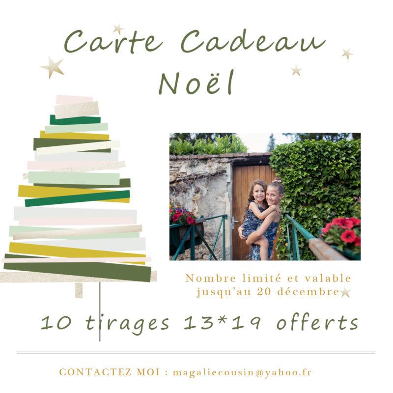 Carte cadeau séance photo Noël