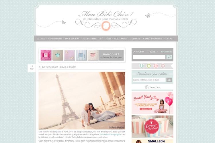 Publication sur le blog Mon bébé chéri