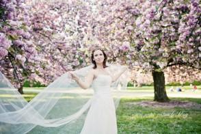 mariée et cerisiers en fleurs